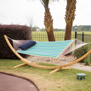 Hatteras Hammocks Large Quilted Fabric Hammock - Sunbrella Gateway Tropic