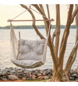 Tufted Single Swing - Sunbrella Integrated Pewter, Soft like cotton