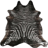 Brazilian Metallic Stenciled Zebra Cowhide