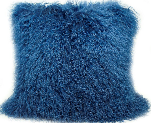 Tibetan Lamb Pillow - Blue - Modern Rugs LA
