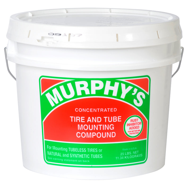 25 lb. MURPHY'S Mounting Compound  Murphy's Tire and Tube Mounting Compound 25 lbs.  Murphy's Tire and Tube Mounting Compound is designed to assist in mounting rubber tires and tubes on all types of wheels. It is fortified with rust inhibitors to provide protection against wheel corrosion. Murphy's mild formula is worker friendly.  Murphy's Tire and Tube Mounting Compound is a thick, vegetable based lubricant. Murphy's can be used in its concentrated form or diluted in water (3-4 parts water, 1 part Murphy'