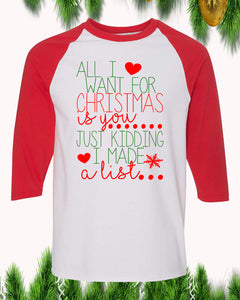 All I Want For Christmas Is You Raglan T-Shirt 3/4 Sleeve Adult Unisex - PrintMeLLC