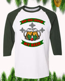 Ho Ho Hold My Beer Christmas Raglan T-Shirt 3/4 Sleeve Adult Unisex - PrintMeLLC