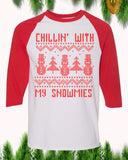 Chillin' With My Snowmies Christmas Raglan T-Shirt 3/4 Sleeve Adult Unisex - PrintMeLLC