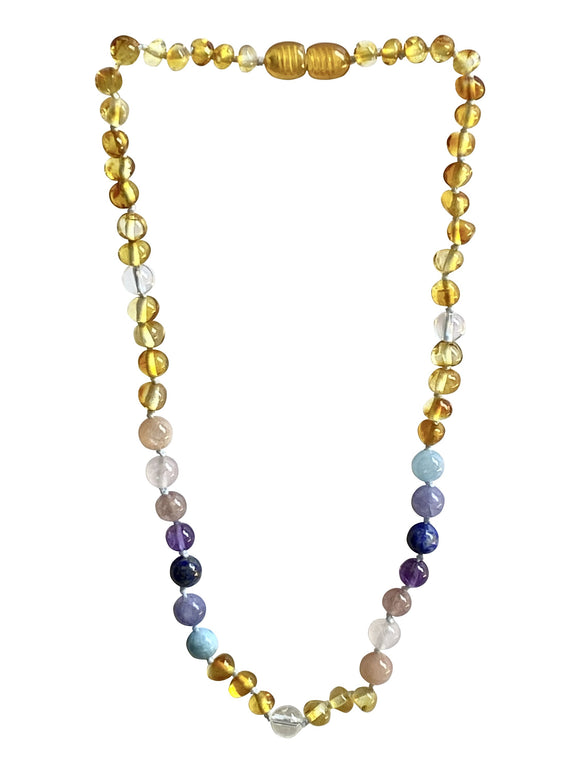 Amber + Pastel Rainbow Natural Relief Big Kid Necklace