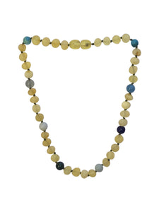 Amber + Blue Gemstone Natural Relief Baby Necklace