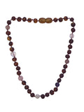 Amber + Pink/Purple Gemstone Natural Relief Baby Necklace