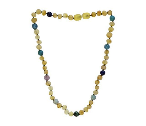 Amber + Blue Natural Relief Big Kids Necklace