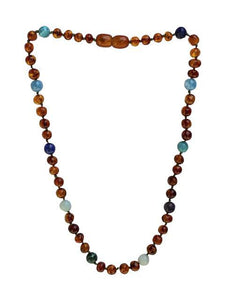 Amber + Blue/Green Natural Relief Big Kids Necklace