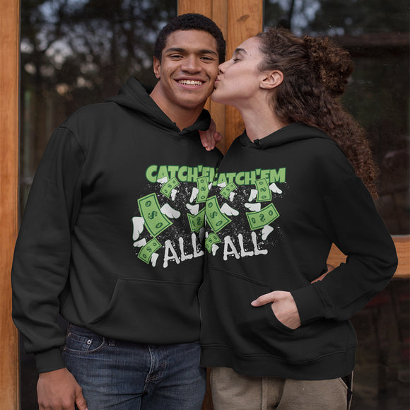 Catch'em All Flying Dollar Bills Adult Unisex Hoodie - PrintMeLLC