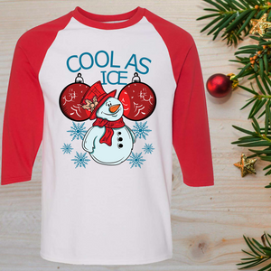 Cool As Ice Funny Snowman Christmas Raglan T-Shirt 3/4 Sleeve Adult Unisex