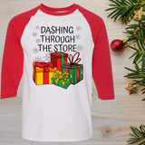Dashing Trough The Store Funny Christmas Raglan T-Shirt 3/4 Sleeve Adult Unisex