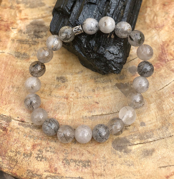 Black Tourmaline Quartz Stretch Bracelet Natural Crystals & Handmade