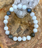 Rainbow Blue Moonstone & Blue Flash Labradorite Stretch Bracelet
