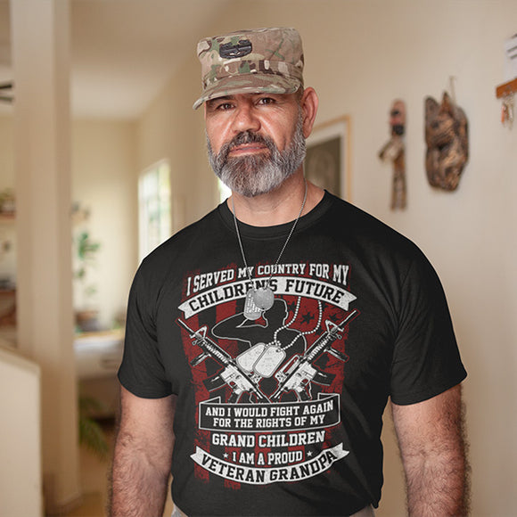 I Served My Country For My Children's Future Proud Veteran Grandpa Military T-Shirt - PrintMeLLC