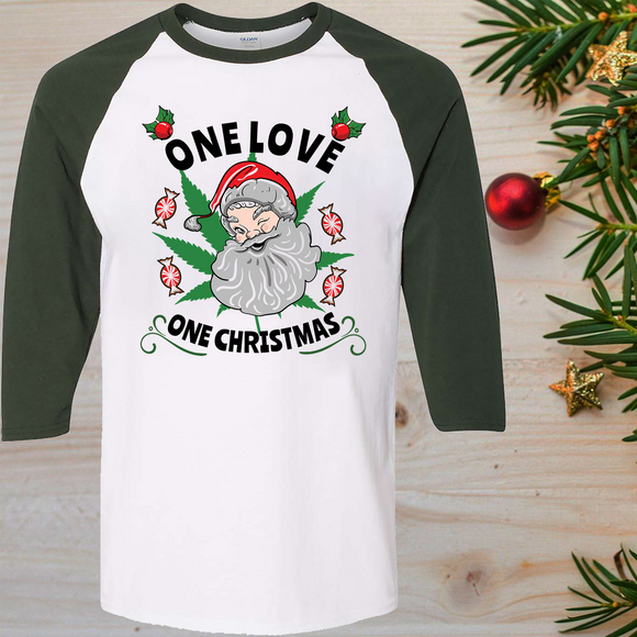 One Love One Christmas Raglan T-Shirt 3/4 Sleeve Adult Unisex