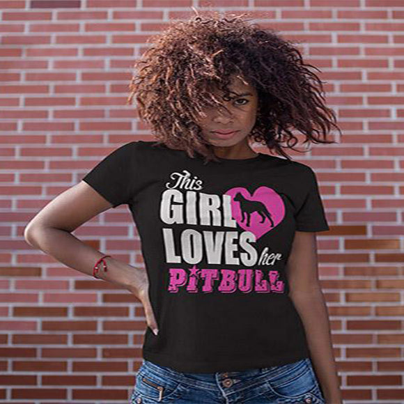 This Girl Loves Her Pit Bull Women's T-Shirt - PrintMeLLC
