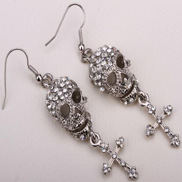 Crystal Skull Skeleton Cross Dangle Earrings For Women - PrintMeLLC