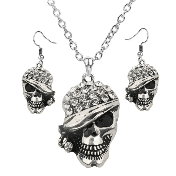 Women's Skull Jewelry Set Adjustable Necklace And Dangle Earrings