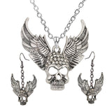 Women's Wing Skull Jewelry Set Adjustable Necklace And Dangle Earrings