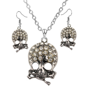 Women's Skull Cross Bone Jewelry Set Adjustable Necklace And Dangle Earrings