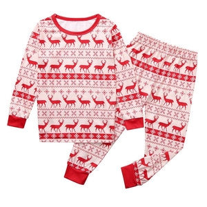 Red Christmas Deer Pattern Family Matching Pajama Set Sleepwear