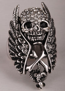 Skull Wings Cross Snake Stretch Ring For Women With Different Colored Crystal's - PrintMeLLC