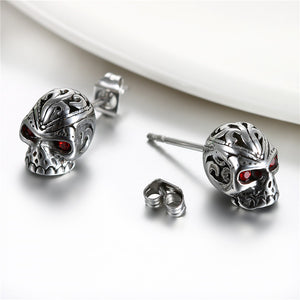 Stainless Steel Men Round Skull Stud Earrings With Red Chrystal - PrintMeLLC
