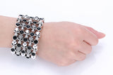 Skull Stretch Cuff Bracelet for Women with Black Crystals - PrintMeLLC