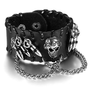Mens Black Wide Leather Bracelet, Skull, Charm - PrintMeLLC