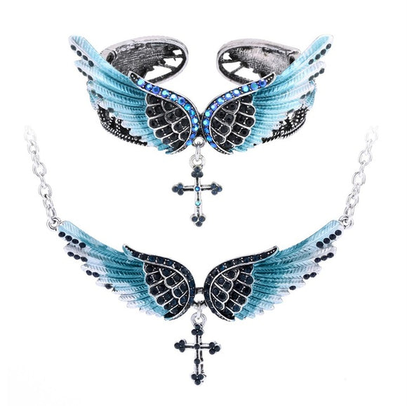Angel Wing Cross Necklace Bracelet Jewelry Set For Women