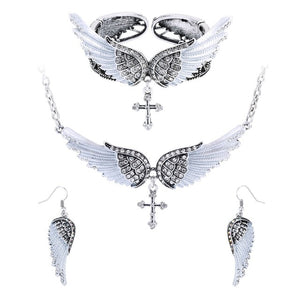 Angel Wing Cross Necklace Earrings Bracelet Jewelry Set For Women