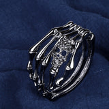 Skull Skeleton Hand Bracelet For Women Antique Silver