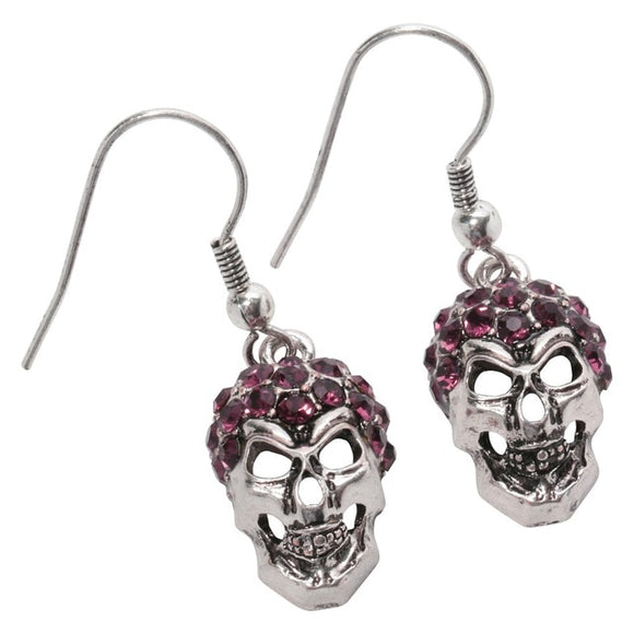 Silver Skull Dangle Drop Earrings For Women