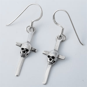 925 Sterling Silver Skull Cross Dangle Drop Earrings For Women
