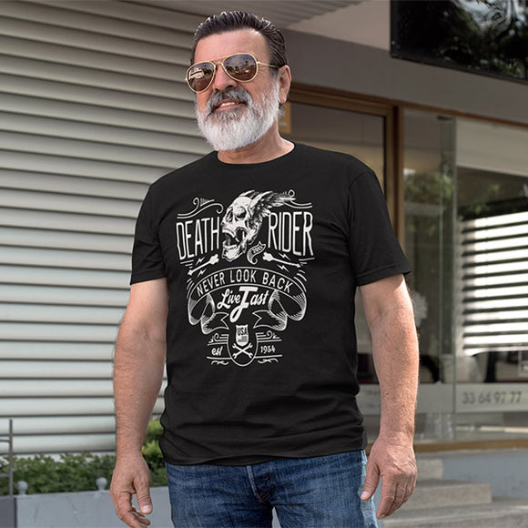 Death Rider Never Look Back Live Fast Men's Biker T-Shirt - PrintMeLLC