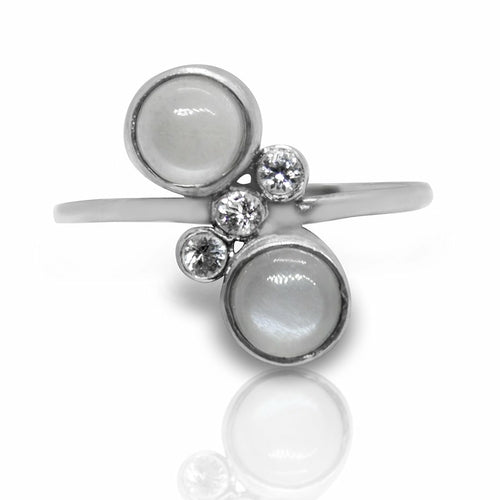 Twin Gray Moonstone and White Topaz Sterling Silver Ring