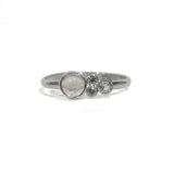 Rainbow Moonstone and Topaz Cluster Sterling Silver Ring