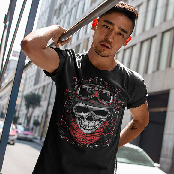 Skull With Red Bandana Men's T-Shirt - PrintMeLLC