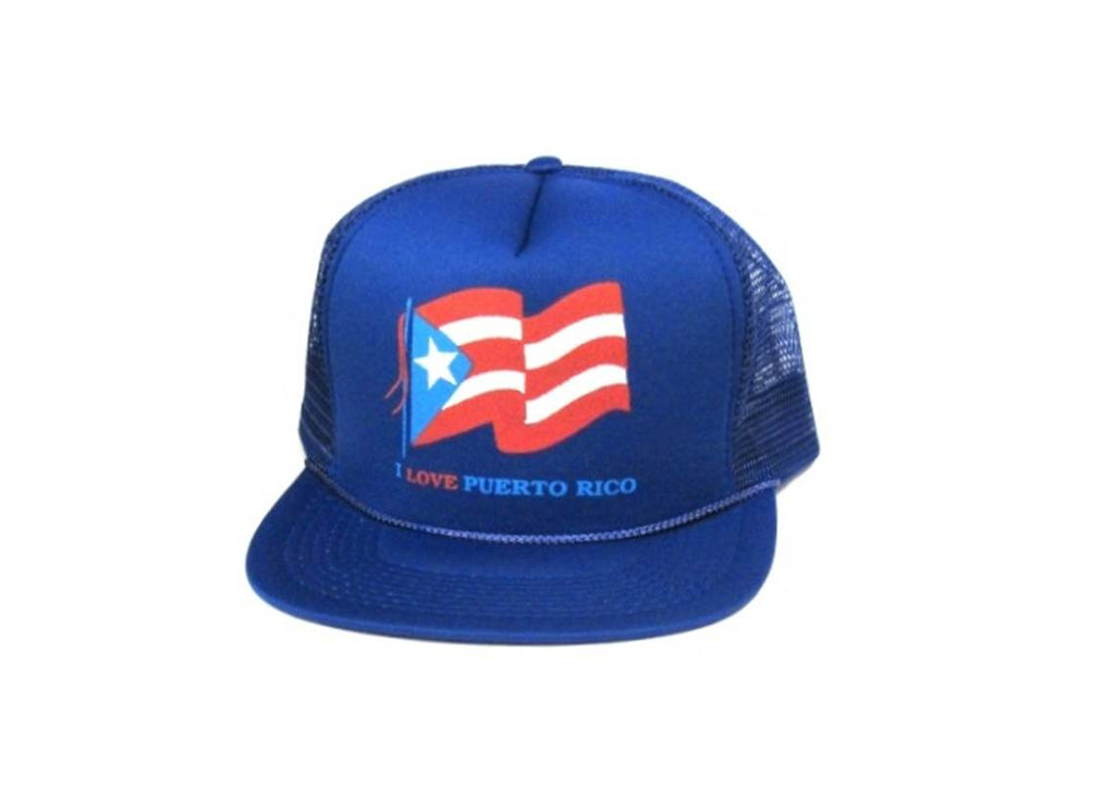 "Adult mesh back printed hat ""I love Puerto Rico"" baseball hat fitted (6 EACH)"