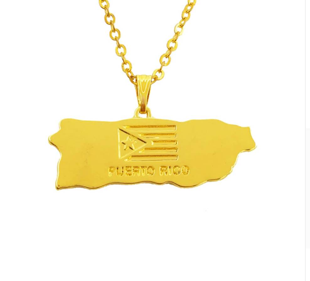 Gold necklace Puerto Rico map