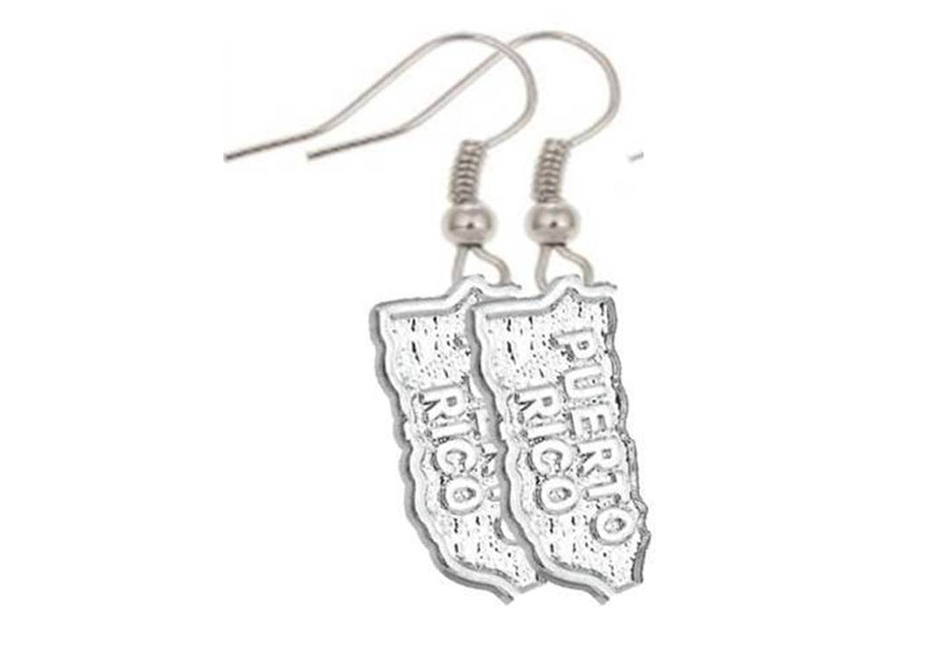 Puerto Rico Jewelry Silver Earrings Fashion Map Charm