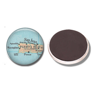 Puerto Rico Map Fridge Magnet Glass Cabochon Note Holder