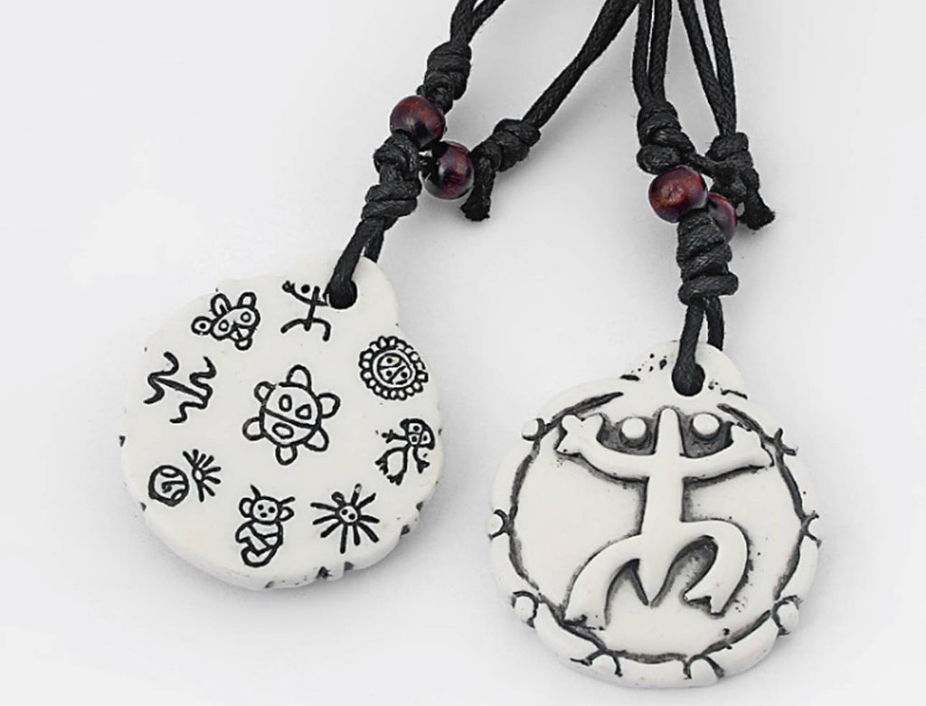 Double sided White Puerto Rico Coqui Taino Symbol Pendant Necklace (6 pieces)