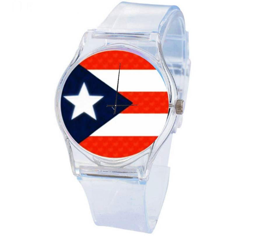 Puerto Rico flag Decorative Transparent Clock Silicone Wristwatch