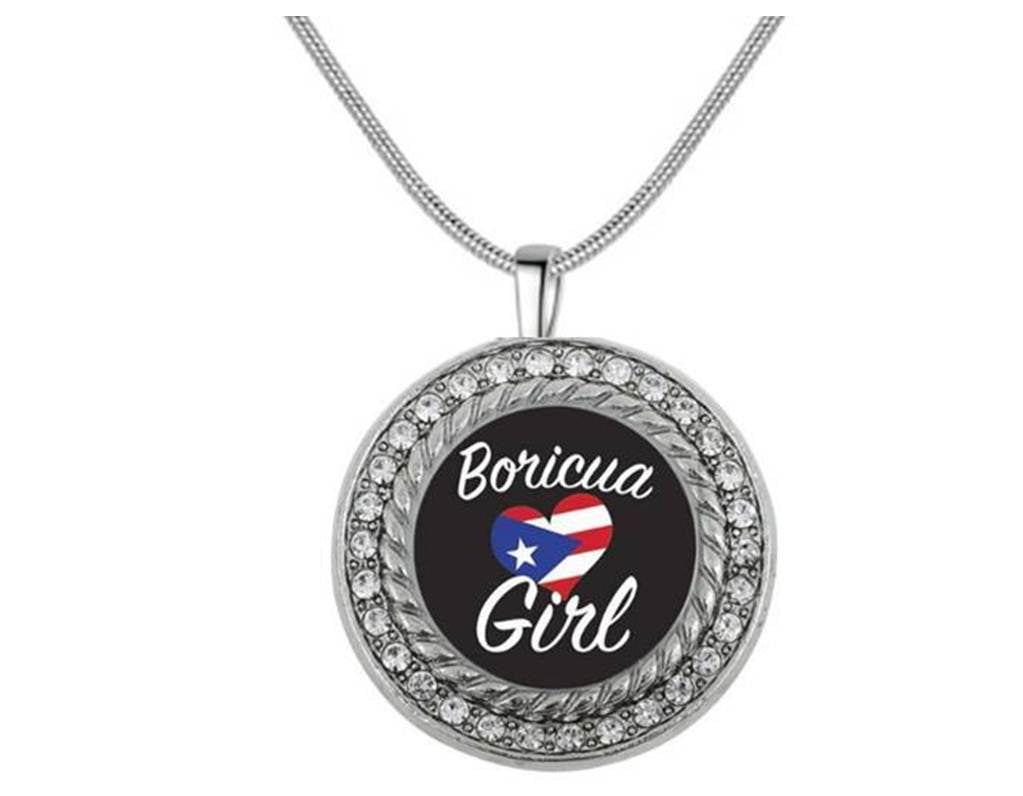 Boricua Girl Necklace Antique Silver Plated Jewelry
