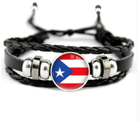 Puerto Rico Flag Leather  Bracelet Unisex with Invisible Setting