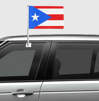 Puerto Rico car window banner with medium flag