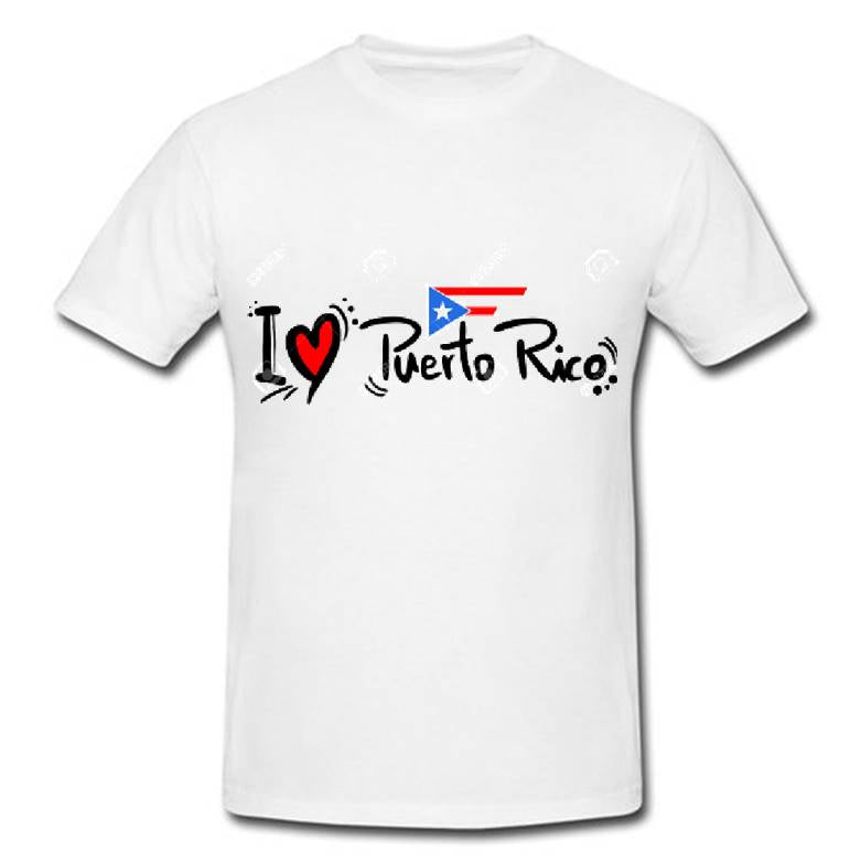 Heavy duty camisetas  I ♥ Puerto Rico tshirt printing with flag