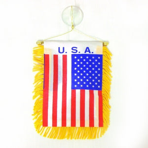 Car mini banner USA flag (DOZEN)
